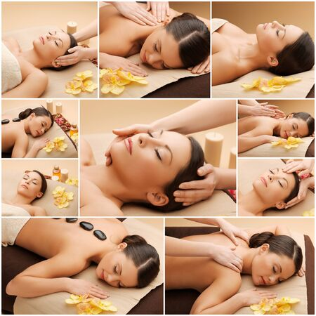 spa collage: beauty, healthy lifestyle and relaxation concept - collage of many pictures with beautiful asian woman having facial or body massage in spa salon