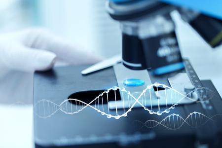 wetenschap, chemie, biologie, geneeskunde en mensen concept - close-up van wetenschapper hand met testexemplaar maken van onderzoek in de klinische laboratorium met DNA-molecuul structuur