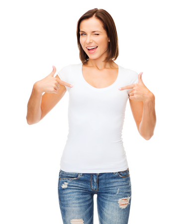 woman white shirt: t-shirt design concept - smiling and winking woman in blank white t-shirt Stock Photo