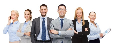 business, people, gesture and office concept - group of smiling businessmen Imagens