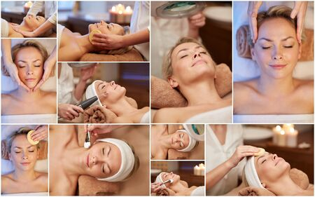 relaxation massage: beauty, healthy lifestyle and relaxation concept - collage of many pictures with beautiful young woman having facial massage and treatments by cosmetologist at spa salon