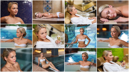 luxury lifestyle: beauty, spa, healthy lifestyle concept - beautiful young woman relaxing at luxury spa with hammam sauna and swimming pool Stock Photo