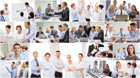 reunion de trabajo: el concepto de éxito - collage con muchos hombres de negocios