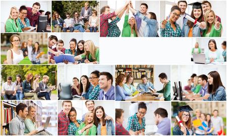 licenciatura: concepto de la educación - collage con muchas fotos de los estudiantes en la universidad, la universidad o la escuela secundaria con copyspace
