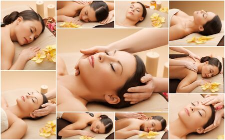 spa woman: beauty, healthy lifestyle and relaxation concept - collage of many pictures with beautiful asian woman having facial or body massage in spa salon
