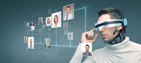 people, technology, future and progress - man with futuristic 3d glasses and microchip implant or sensors over blue background with network contacts icons Stock fotó