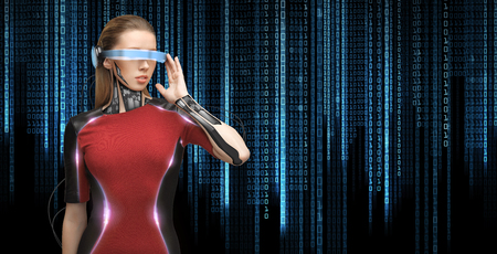 cyber woman: people, technology, future and progress - young woman with futuristic glasses and microchip implant or sensors over black background with blue binary system code