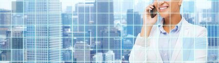 modern building: business, people and communication concept - smiling african american businesswoman calling on smart phone over city and blue grid background