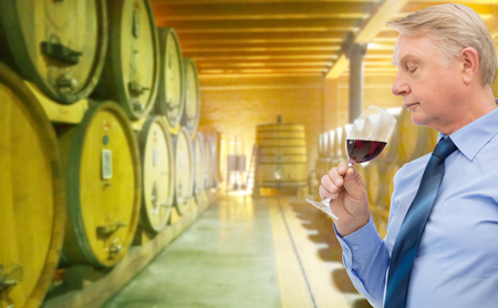 degustating: people, winery, alcohol and beverage concept - senior man smelling red wine over wine cellar background Stock Photo