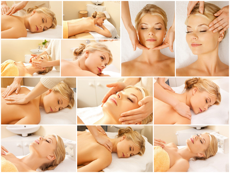 spa collage: beauty, healthy lifestyle and relaxation concept - collage of many pictures with beautiful young woman having facial or body massage in spa salon