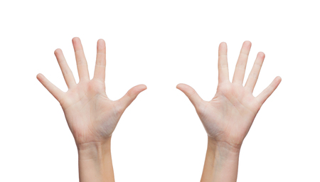 body parts: gesture and body parts concept - two woman hands waving hands