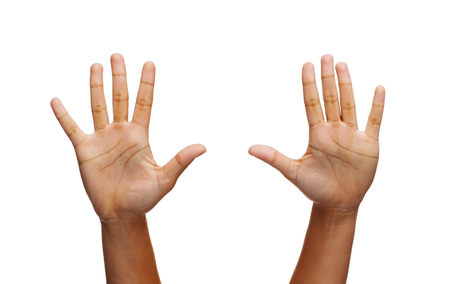 two objects: gesture and body parts concept - two woman hands waving hands