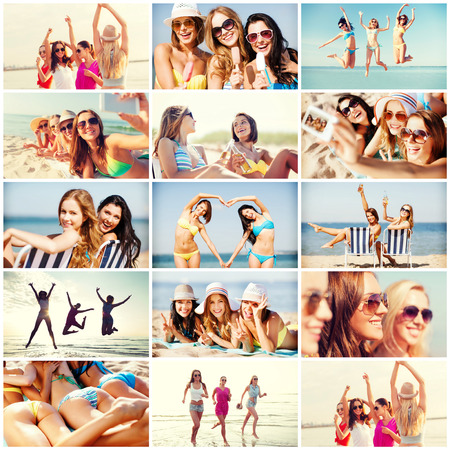 girl friends: summer holidays and vacation concept - collage of many pictures with pretty girls having fun on the beach and taking selfie