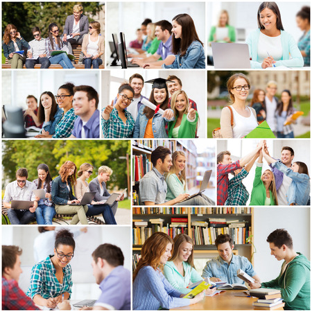교육 개념 - 대학, 대학 또는 고등학교 학생의 많은 사진 콜라주