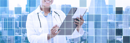 health care, people and medical concept - happy african female doctor with clipboard over city and blue grid background