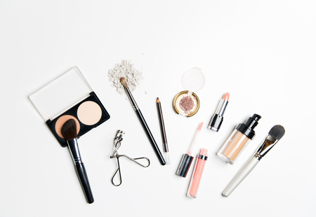feminine beauty: cosmetics, makeup and beauty concept - close up of makeup stuff