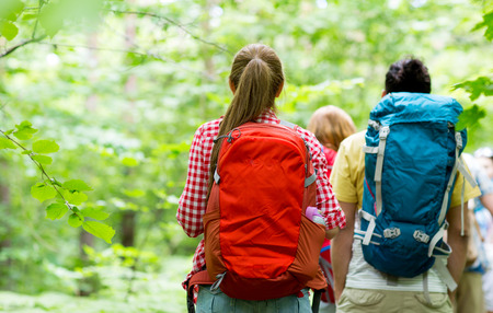 adventure, travel, tourism, hike and people concept - close up of friends walking with backpacks in woods from back Stok Fotoğraf