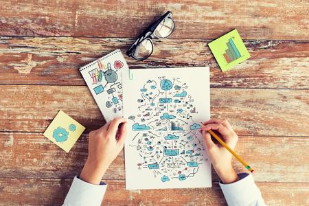 negocios, educación, planificación, estrategia y concepto de la gente - cerca de las manos dibujando esquemas y tabla en hojas de papel en la mesa