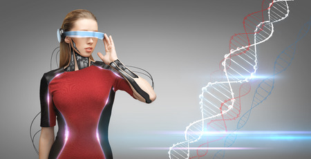 technological: people, technology, future and progress - young woman with futuristic glasses and microchip implant or sensors over gray background with dna molecule formula