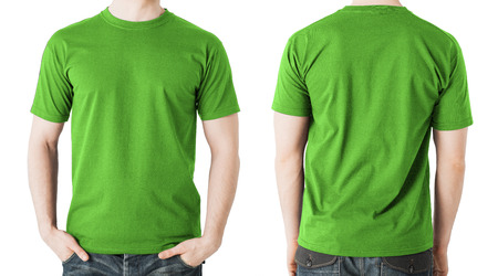 t shirt model: clothing design concept - man in blank green t-shirt, front and back view