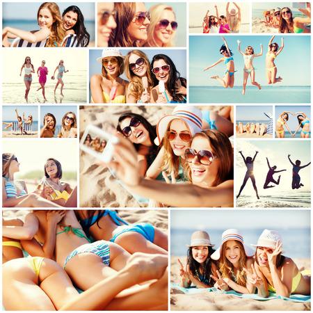 niñas bonitas: fiestas y las vacaciones de verano concepto - collage de muchas fotos con chicas guapas que se divierten en la playa y tomar selfie Foto de archivo