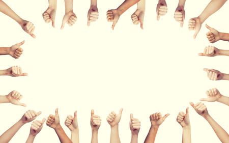 body parts: gesture and body parts concept - human hands showing thumbs up in circle