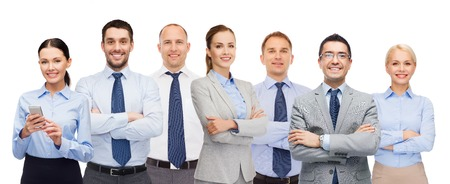 businesspeople: business, people, corporate, teamwork and office concept - group of happy businesspeople with crossed arms Stock Photo