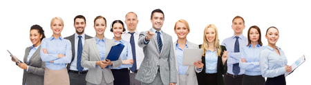 co workers: business, people, corporate, teamwork and office concept - group of happy businesspeople pointing at you Stock Photo