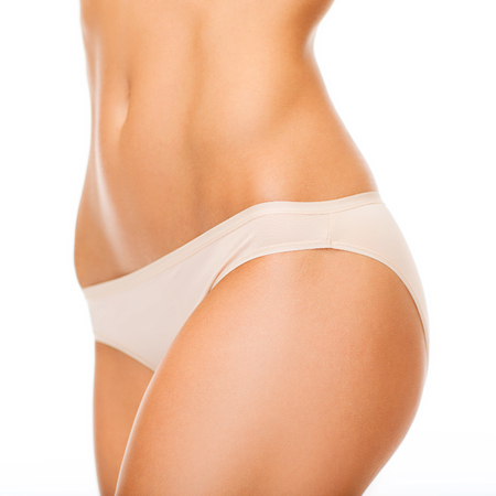 beauty body: health and beauty - woman in cotton underwear showing slimming concept Stock Photo