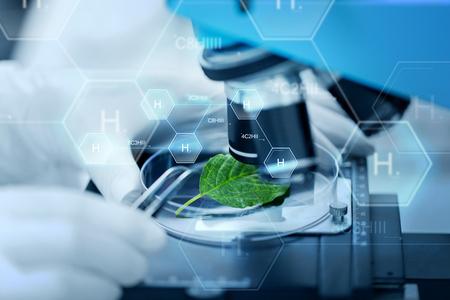 la science, la chimie, la biologie et les gens concept - gros plan de la main avec le scientifique microscope et feuille verte sur la recherche en laboratoire clinique sur la formule chimique de l'hydrogène Banque d'images