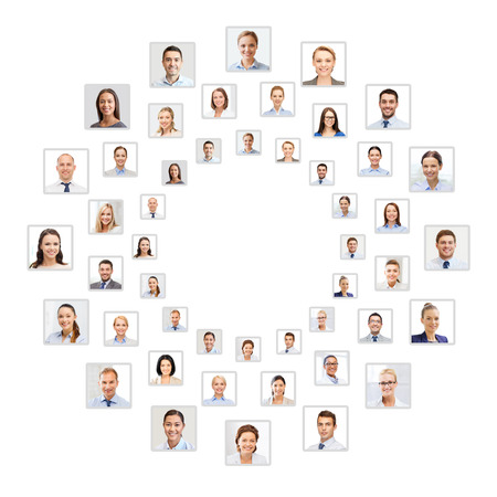 co workers: success concept - many business people portraits in circle