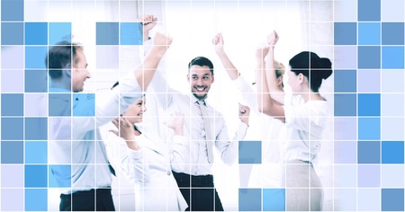 square dancing: business, people, achievement and success concept - happy business team celebrating victory in office over blue squared grid background Stock Photo