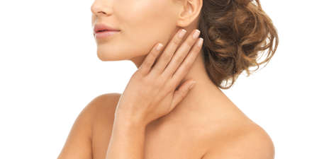 young woman face: close up of face and hands of beautiful woman Stock Photo