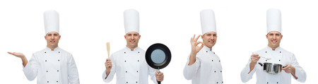 toque: cooking, profession, advertisement and people concept - happy male chef cook in toque holding kitchen utensils and showing ok hand sign