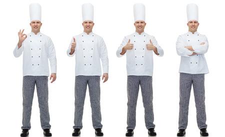 요리, 직업, 제스처 및 사람들이 개념 - 행복 남성 요리사 요리사 확인 및 엄지 손가락 손 기호