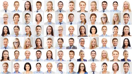 caras felices: el concepto de éxito - collage con muchos hombres de negocios retratos Foto de archivo