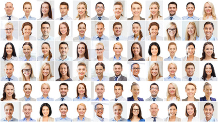young woman face: success concept - collage with many business people portraits Stock Photo