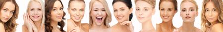 Gente, retrato y el concepto de belleza - collage de muchas mujeres caras felices Foto de archivo - 54747898