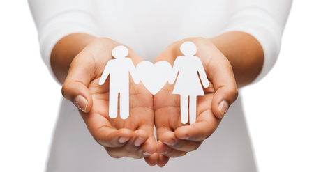 relationships and love concept - womans hands showing couple with heart shape Stock Photo