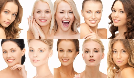 人々 の肖像画、そして美容のコンセプト - 多くの幸せな女性の顔のコラージュ