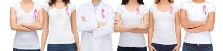 women breast: healthcare and medicine concept - group of smiling women and doctor in blank t-shirts with pink breast cancer awareness ribbons Stock Photo