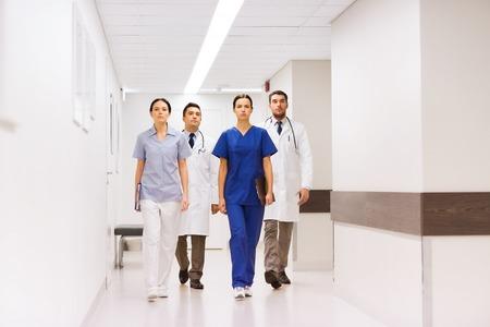 medics: group of medics or doctors at hospital corridor Stock Photo
