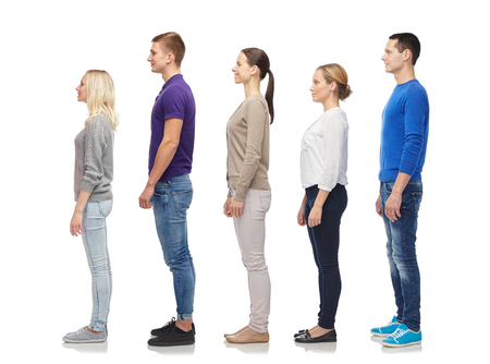 group of men and women from side Stock Photo