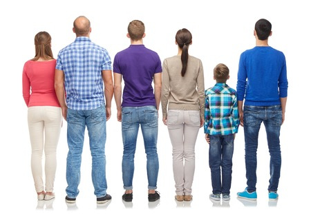 back view: group of men, women and boy from back