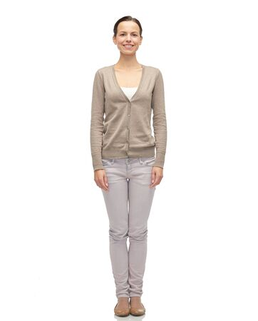smiling young woman in cardigan Stock Photo