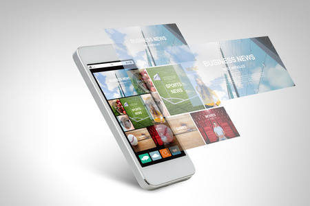 web application: technology, business, electronics, internet  and media concept - white smarthphone with news web page and application icons on screen