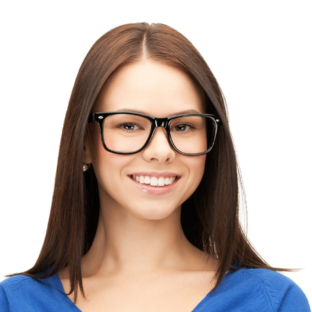specs: people, health care, vision, business and education concept - happy smiling young woman face in glasses