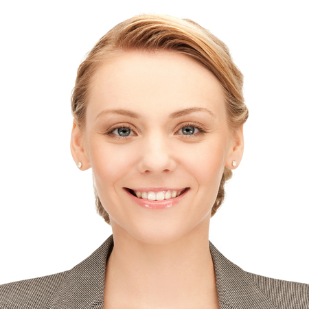 smiling face: people, business, female and portrait concept - happy smiling young woman face Stock Photo