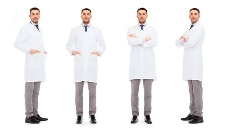 white coat: medicine, science, profession and health care concept - doctors in white coat