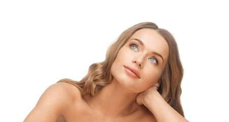 bare women: people, beauty and hair care concept - beautiful woman face with long blond hair looking up and dreaming